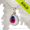 Small but mightly this mixed hot pink and blue Multi Sea Glass Pendant In Original Wire Bezel Setting© is bound to get noticed!