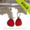 Lightweight Cherry Red Genuine English Sea Glass Earrings In Solid Sterling Silver Original Wire Bezel©