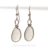Perfect Lightweight Pure White Genuine Sea Glass Earrings In Sterling Original Wire Bezel©