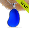 P-E-R-F-E-C-T and BIG Cobalt Blue Sea Glass In a Solid Sterling Silver Wire Bezel© Necklace Pendant