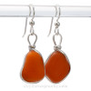 SUPER RARE - Mostly Opaque ORANGE English Sea Glass  Earrings in Original Sterling Wire Bezel©