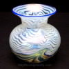 LUNDBERG STUDIOS Art Glass VASE iridescent blue white swirls beautiful that may have been the intended product of this amazing sea glass.