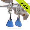 Perfect Petite pieces of Vivid Cobalt Blue Sea Glass Earrings on Solid Sterling Silver Dangly Deluxe Leverbacks.