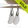 Beach Found GENUINE White Sea Glass Earrings on Solid Sterling Silver Deco Hooks