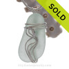 Long Lovely Sea Green Genuine Sea Glass Sterling Waves© Signature Sterling Setting Pendant