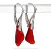 These vivid ruby red natural sea glass pieces really glow hanging from these solid sterling silver leverback earrings.