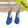 Longer Lightweight Petite Cobalt Blue Sea Glass Earrings on Solid Sterling Silver Leverbacks