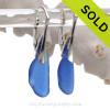 Longer Lightweight Petite Blue Sea Glass Earrings on Solid Sterling Silver Leverbacks