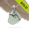 Sea Water Green Sea Glass With Sterling Silver Dolphins - Mother And Child Charm