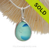 Small but mightly this mixed aqua and blue Multi Sea Glass Pendant In Original Wire Bezel Setting© is bound to get noticed!