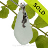 Palest Aqua Green Sea Glass With Sterling Seahorse Charm - S/S CHAIN INCLUDED
