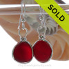 PERFECT Cherry Red Genuine English Sea Glass Earrings In Solid Sterling Silver Original Wire Bezel©