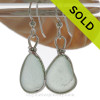 Soft Seafoam Green Beach Found Sea Glass Earrings In Solid Sterling Silver Original Wire Bezel©