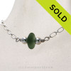 """Rich Seaweed Green Sea Glass Necklace on All Solid Sterling Silver - 18"""" SOLD - Sorry this Sea Glass Necklace selection is NO LONGER AVAILABLE!"""