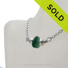 Simply Sea Glass Necklace Rich Aqua Green on Solid Sterling Silver
