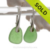 Beach Found Larger Vivid Green Sea Glass Earrings On Solid Sterling Silver Leverbacks