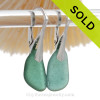 Beautiful Beach Found Teal Green Sea Glass Earrings On Solid Sterling Silver Leverbacks