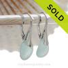 Genuine Beach Found Perfect Petite Pale Aqua Blue Sea Glass Earrings on Solid Sterling Silver Leverbacks