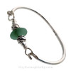 Deep Mixed Aqua Green Sea Glass Sterling Bangle Bracelet W/ Swimming Dolphin Beads