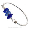 Give Me the Blues - Genuine Sea Glass Premium Bangle Bracelet In Solid Sterling