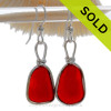 Genuine Beach Found Royal Red Ruby Sea Glass Earrings In Solid Sterling Original Wire Bezel©