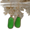 Long Thick Vivid Green Beach Found Sea Glass Earrings In 14K Goldfilled Original Wire Bezel©