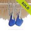 Colorful Lucky Cobalt Blue Genuine Sea Glass Earrings on Solid Sterling Silver Leverbacks