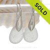 Beach Found GENUINE White Genuine Sea Glass Earrings on Solid Sterling Silver Deco Hooks
