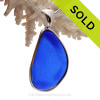 P-E-R-F-E-C-T and BIG Cobalt Blue Sea Glass Bottle Bottom In a Solid Sterling Silver Wire Bezel© Necklace Pendant
