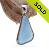 P-E-R-F-E-C-T Long Large Bright Perwinkle Blue Sea Glass In a Solid Sterling Silver Wire Bezel© Necklace Pendant. A great piece if you are fond of wearing denim.
