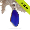 A great Pendant of Deep rich Cobalt Blue Sea Glass set in our Deluxe Wire Bezel setting in Solid Sterling Silver.