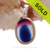 ULTRA ULTRA RARE Magenta Hot Pink and Blue Multi Sea Glass Pendant In Deluxe Wire Bezel Setting©