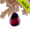 ULTRA ULTRA RARE Deep Magenta Hot Pink and Blue Multi Sea Glass Pendant In  Sterling Silver Deluxe Wire Bezel Setting©
