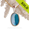 Stunning Mixed Aqua Blue  4 Color Multi Sea Glass Pendant In Tiffany Deluxe Wire Bezel Setting©