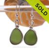 Genuine beach found Bright Jungle Green Sea Glass Earrings in a Solid Sterling Silver Original Wire Bezel© setting.