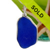 A larger blue sea glass pendant in our Original Wire Bezel setting. This is the EXACT pendant you will receive! Sorry this one of a kind pendant has been sold!