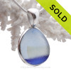ULTRA RARE Electric Blue  3 Color Seaham Sea Glass Multie in Deluxe Wire Bezel© Sterling Pendant In Solid Sterling Silver