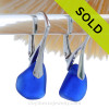 Smaller Lightweight Blue Sea Glass Earrings on Solid Sterling Silver Leverbacks