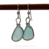 Thick Smaller pale Aqua blue beach found Sea Glass Earrings set in our signature Original Wire Bezel© setting in silver.