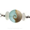A detail of this EXACT Sea Glass Bangle Bracelet and lovely handmade wave bead.