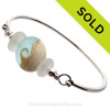 PERFECT pure white Sea Glass Sterling Premium Bangle Bracelet With Aqua Lampwork Glass Wave Bead. SOLD - Sorry this Sea Glass Bracelet is NO LONGER AVAILABLE!