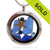 Blue Genuine Sea Glass Locket With Starfish, Tiny blue dyed pearls and real Beach Sand.