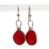 VIVID Fire Red Genuine English Sea Glass Earrings In Sterling Original Wire Bezel©