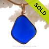 Large Flat Rich Cobalt Blue Genuine Sea Glass pendant set in our 14K Goldfilled Original Wire Bezel.