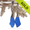 Long Organic shaped pieces of Vivid Cobalt Blue Genuine Sea Glass Solid Sterling Silver Dangly Deluxe Leverback Earrings.