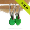 RARE Saturated Green Sea Glass Earrings On Solid Sterling Silver Leverbacks