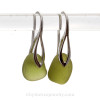 Glowing Peridot Green Seaham Sea Glass on Solid Sterling Deco Earrings