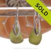 Glowing Peridot Green Seaham Sea Glass on Solid Sterling Deco Earrings.