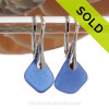 Thinner pieces of Cobalt Blue Sea Glass on Solid Sterling Silver Leverbacks Earrings