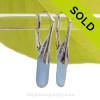 Skinny Slivers of Carolina Blue Sea Glass on Solid Sterling Silver Leverbacks Earrings